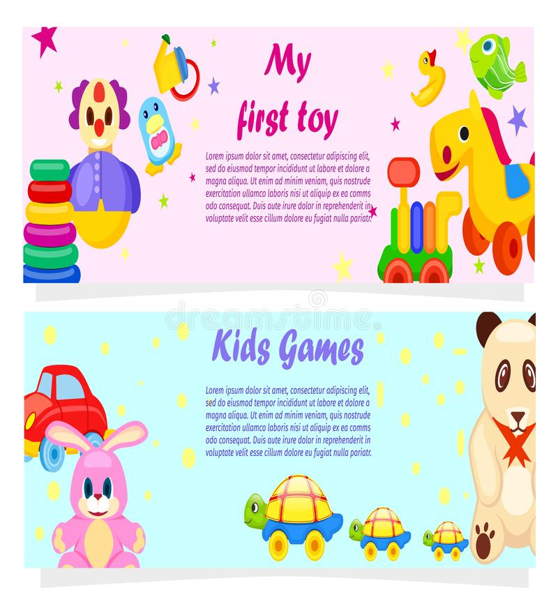 My First Toy and Kids Games Posters with Text royalty free illustration