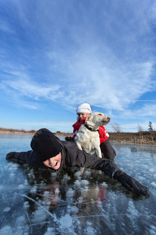 My friend with some humans. My canine friend and its humans - labrador dog wrestling with kids on the frozen lake