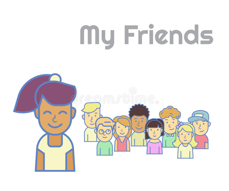 My friends. Smiling black haired girl representing her friends in social networks royalty free illustration