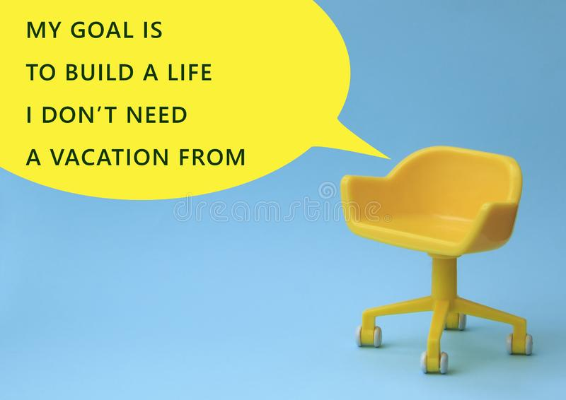 My goal is to build life i do not need vacation from. Yellow stool on blue clean background. Photoshoot in minimal style. Chair, design, interior, wall, room stock image