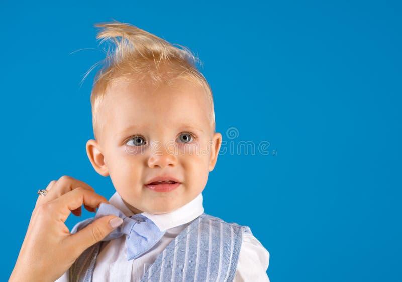 My hair my look. Boy child with stylish blond hair. Little child with messy top haircut. Little child with short haircut. Healthy haircare tips for kids stock photos