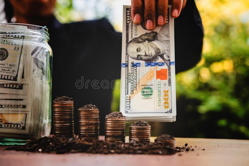 My hands and money Financial planning The idea of a businessman Of successful businesspeople royalty free stock images