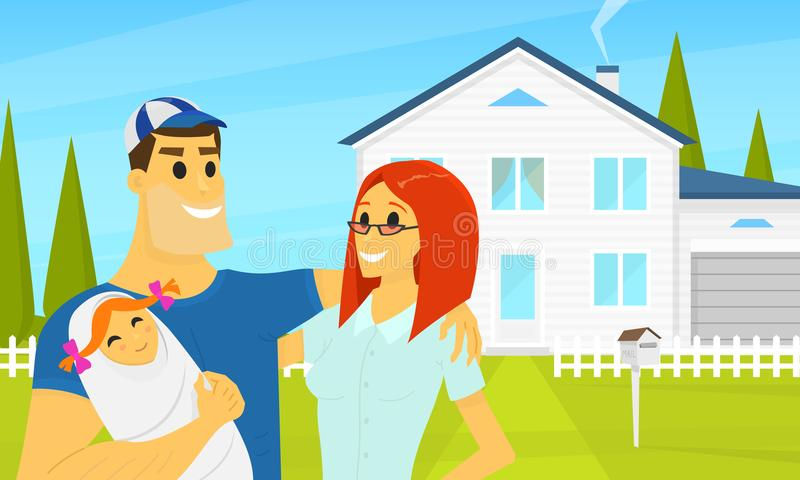 My Happy family in the background of the house. Father and mother with cute newborn baby. Summer landscape. Cottage on royalty free illustration