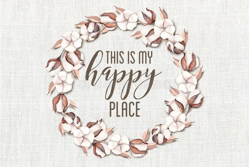 This is my Happy Place Cotton Floral Wreath with Wooden Shabby Chic Background stock photography