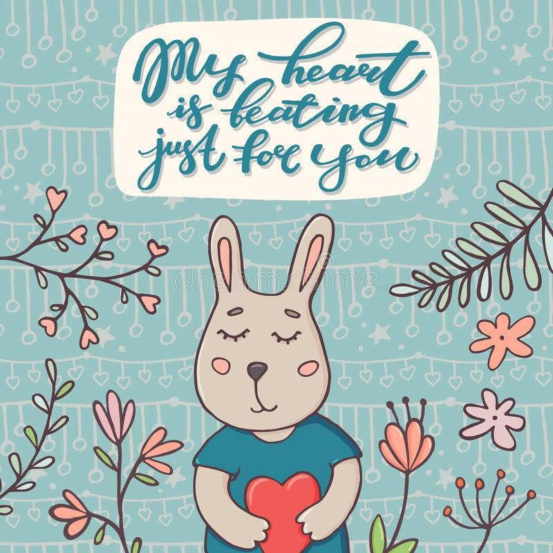 My heart is beating just for you text and bunny stock vector download my heart is beating just for you text and bunny stock vector illustration m4hsunfo Images