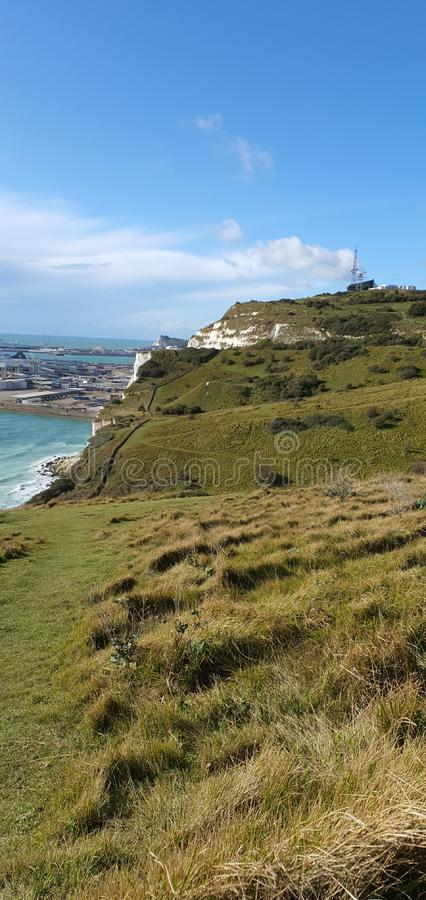 My hiking at the White Cliffs of Dover based in England, beautiful landscape photography, based in countryside, beautiful sea stock photo