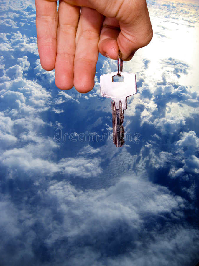 My home keys. Hand with a bunch of keys royalty free stock images