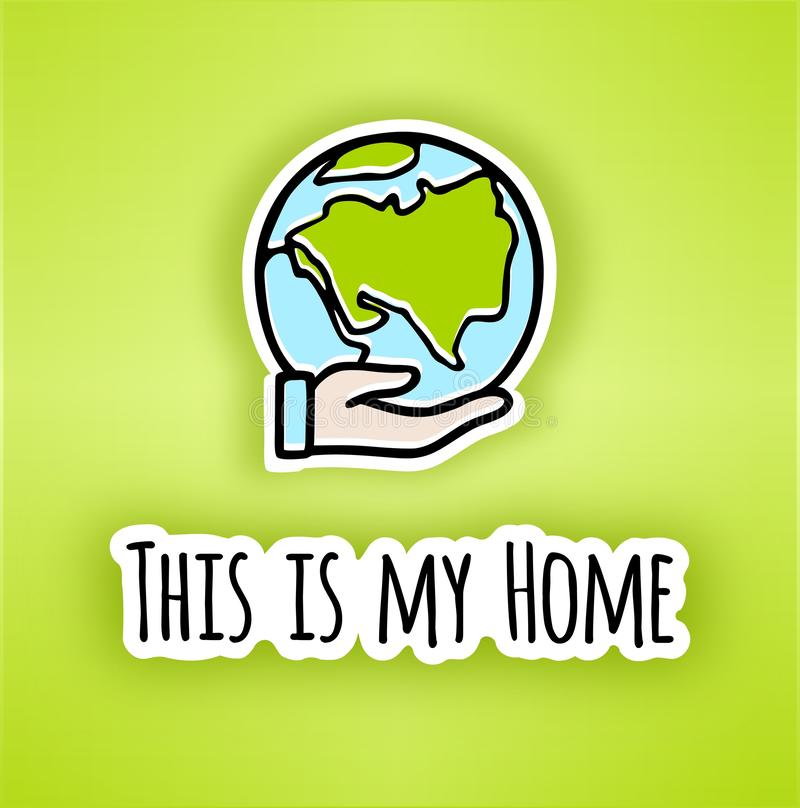 Happy Earth day poster.Hand-drawn Earth in Hand. Line vector icon of the Earth. Vector planet Earth icon in hand .Let`s save the Earth, Ecology concept vector illustration