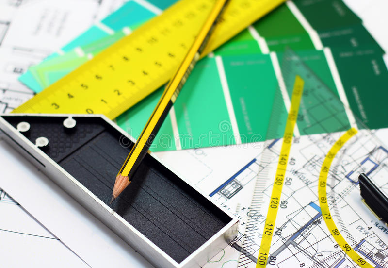 My house. Designing tools for architectural planning of buildings. A conceptual idea royalty free stock images