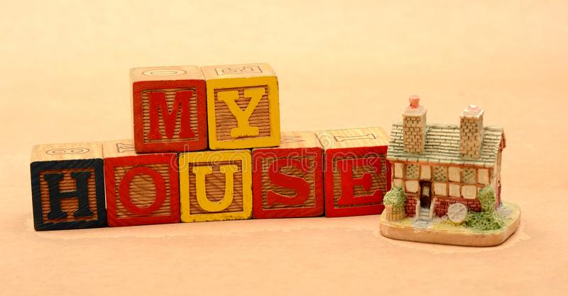 My House Blocks Wooden with House Miniature - Property Concept.  royalty free stock photos