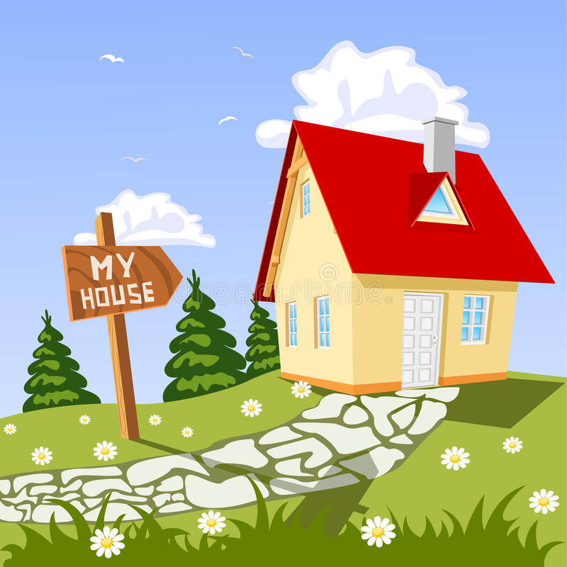 My house in the countryside. Illustration vector illustration