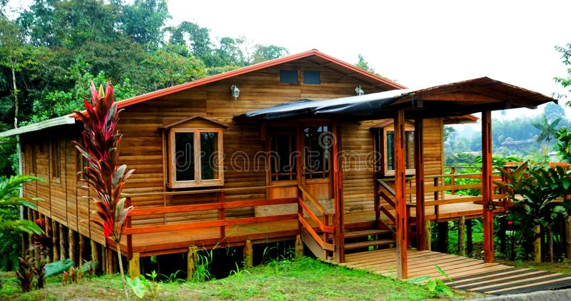 My house in the middel sorrunded by the forest. Picture taken in Pedro Moncayo, Ecuador royalty free stock photo