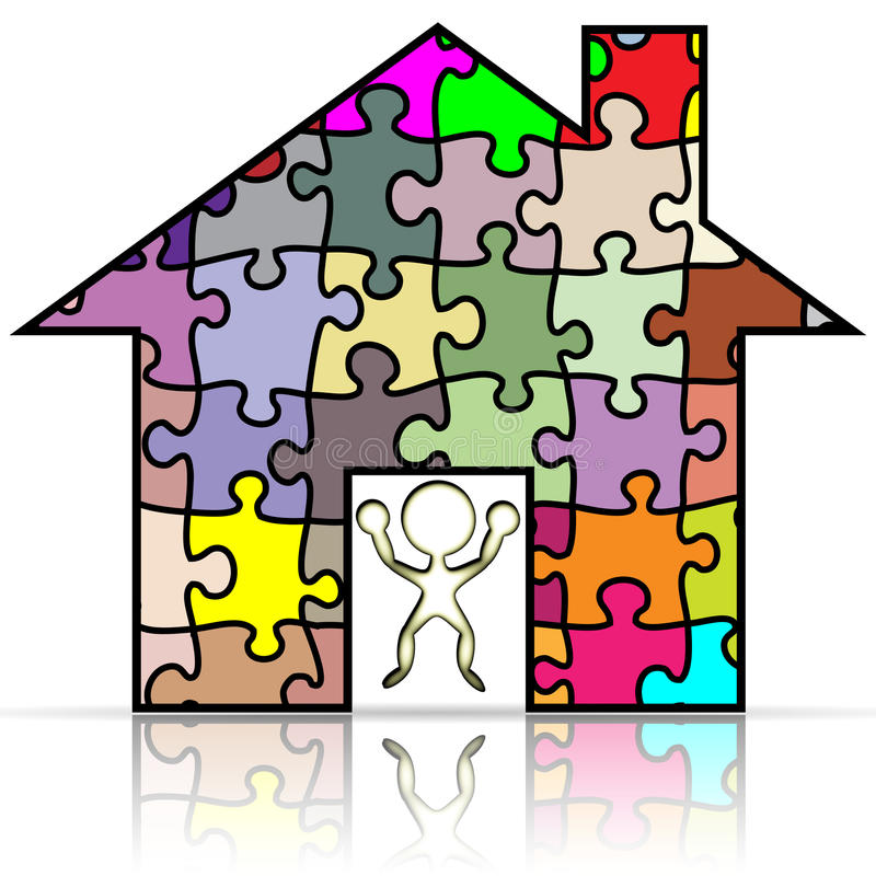 My house puzzle. Illustration of my house puzzle on a white background stock illustration