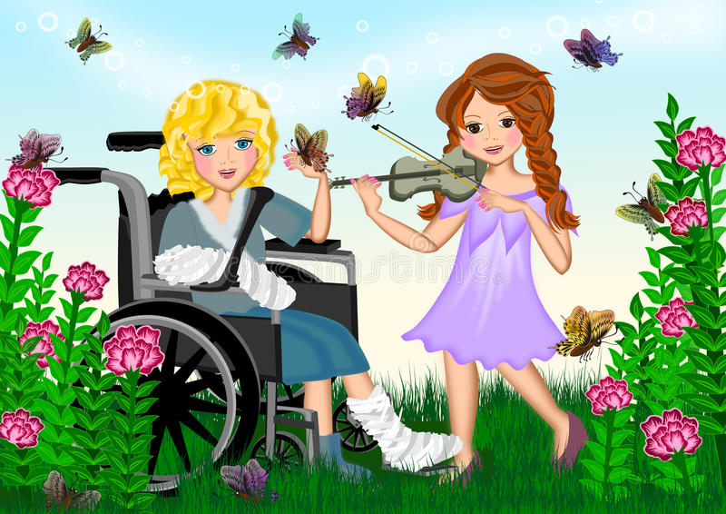 My best friend. Two lovely girl playing in the garden. The caring friend amusing her sick friend by playing violin. Full colour illustrations concept stock illustration