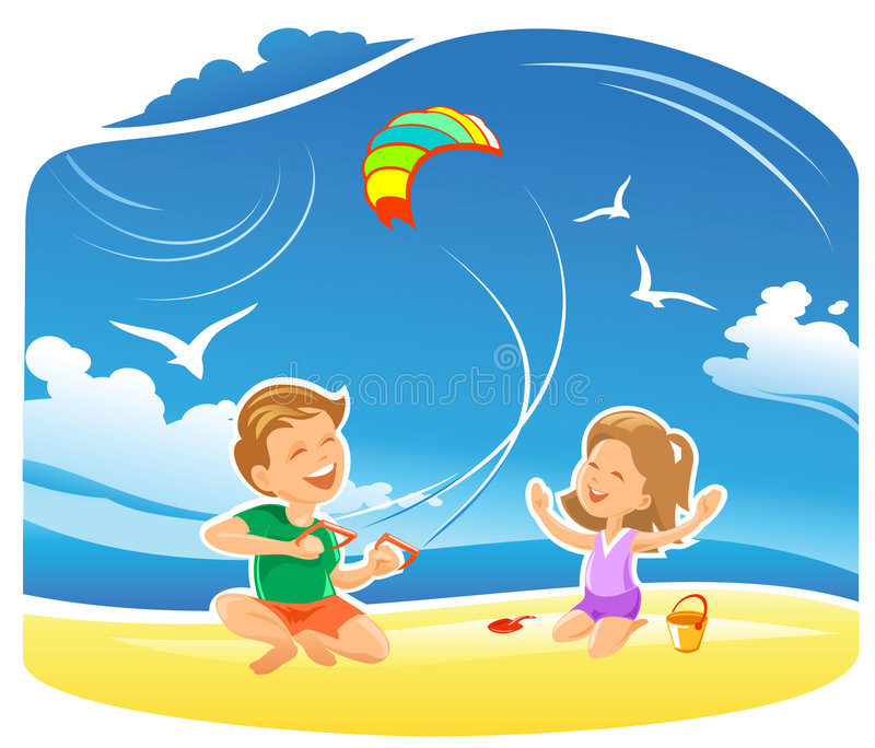 Download My Kite flying high stock vector. Image of kids, family - 7488443