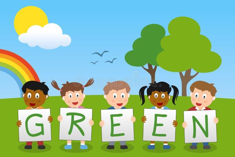 Download Myśli zieleni dzieciaki ilustracja wektor. Obraz złożonej z dziewczyna - 28446447