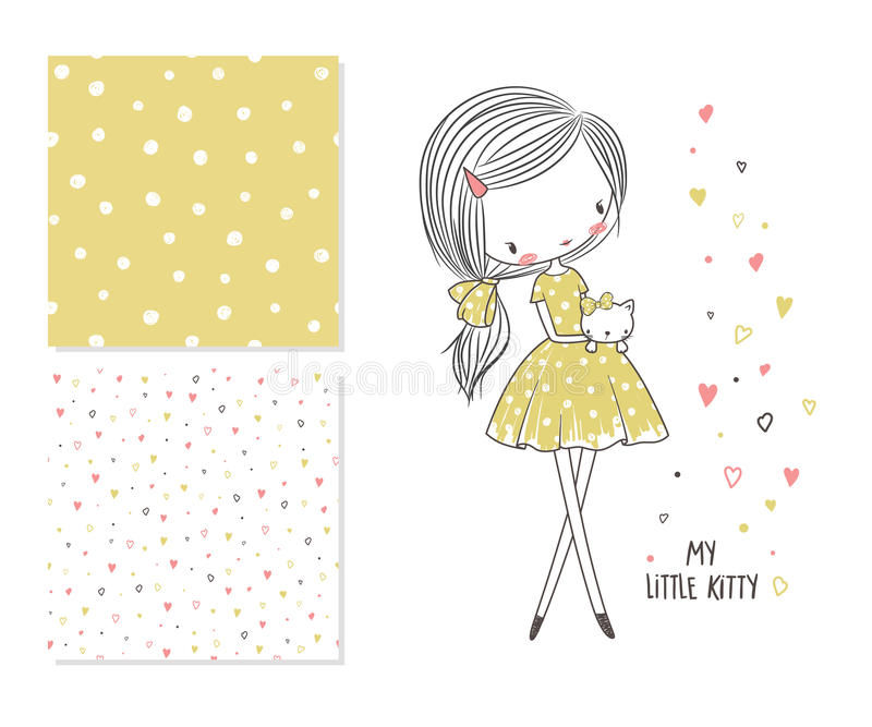 My little kitty. Fashion illustration and 2 seamless patterns. T-shirt graphic for kid`s clothing. Use for print design, surface design, fashion kids wear stock illustration