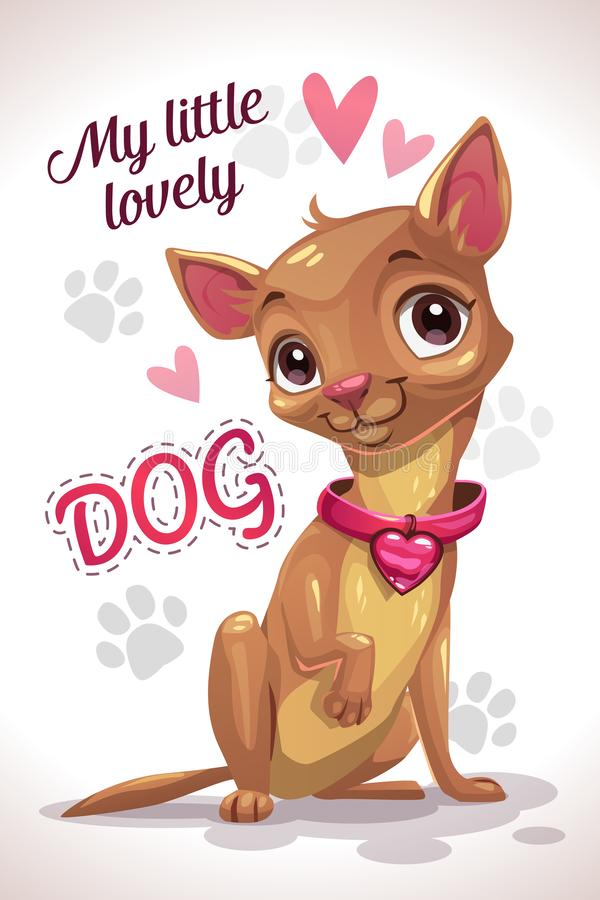 My little lovely dog. Cute cartoon sitting chihuahua puppy. vector illustration