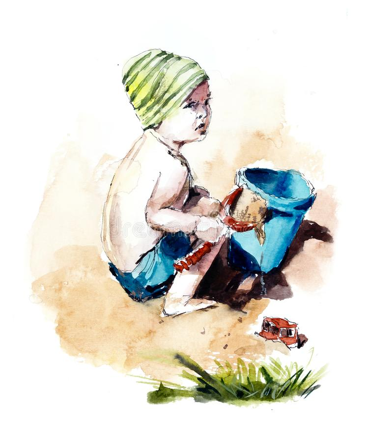 Boy on the beach playing in the sand. Watercolor hand dawing illustration stock illustration