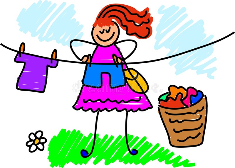 My mum. A busy mother hanging out the washing - drawn from childs perspective stock illustration