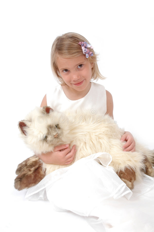 My New Toy. Little girl holds her new stuffed animal royalty free stock photos