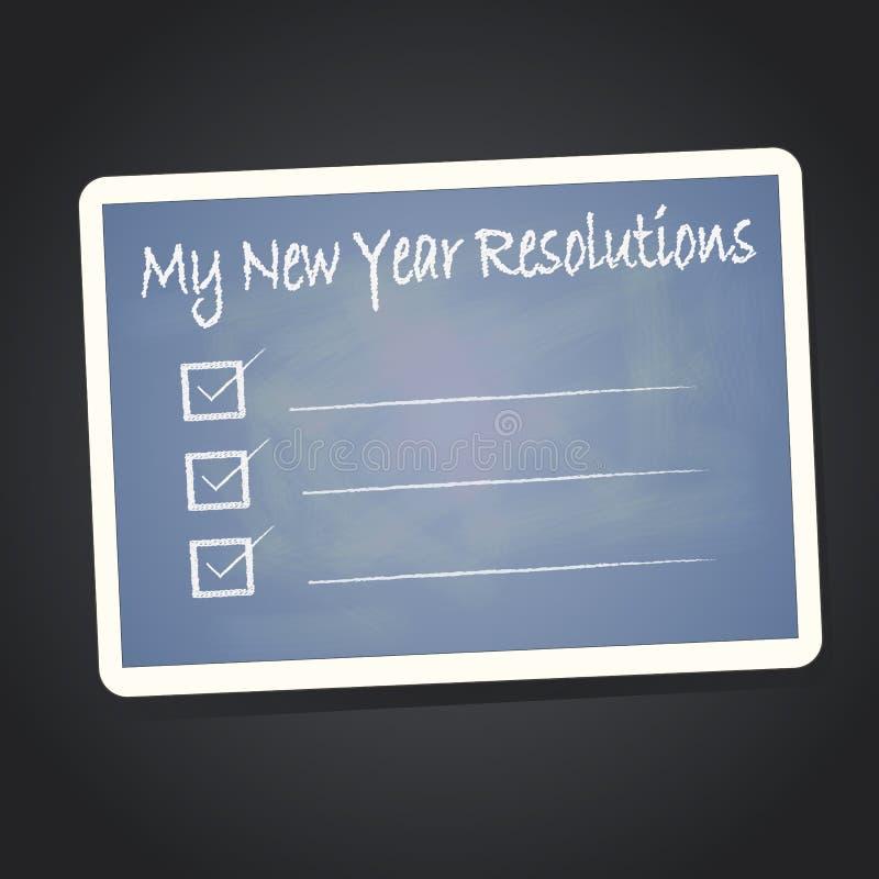 My new year resolution. On blackboard vector illustration