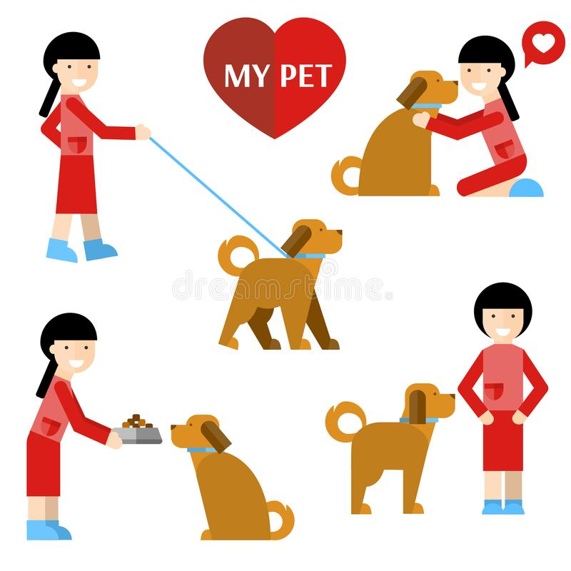 My pet. Girl and dog. royalty free illustration