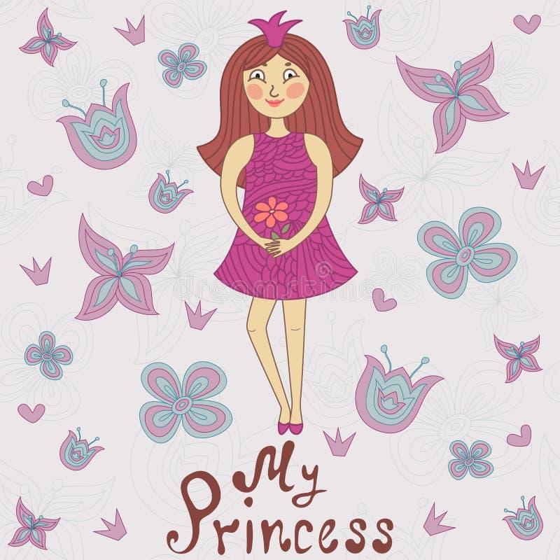 My princess. Cute romantic shower card vector illustration