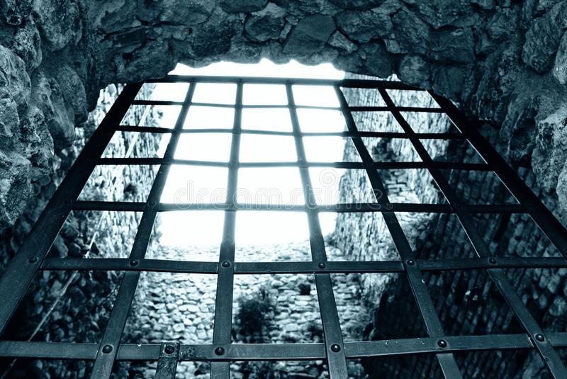 My prison. Iron door to get out of prison stock photography
