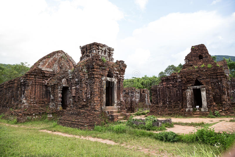 My Son sanctuary is an ancient architectural compl. Ex of the Cham people in Vietnam royalty free stock images