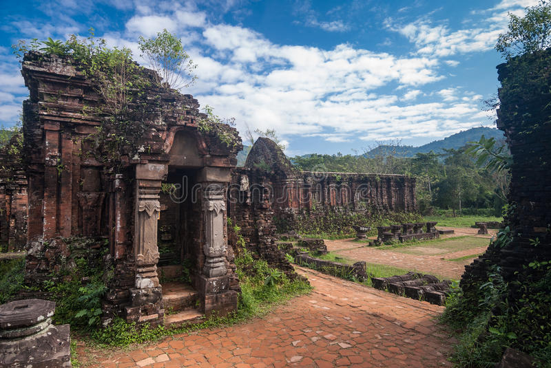 My Son Sanctuary, Vietnam. Remains of Hindu tower-temples at My Son Sanctuary, a UNESCO World Heritage site in Vietnam royalty free stock image