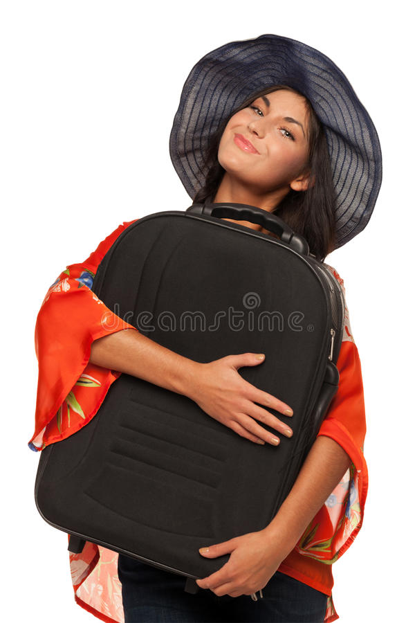 My suitcase is back. Traveler is happy to see her suitcase back royalty free stock image