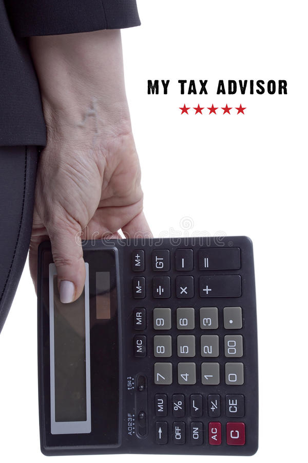 My tax advisor. Poster, the hand of a professional tax consultant with a calculator stock photo