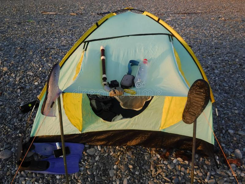 My tent is on the Black Sea and this is my rehearsal place. stock images