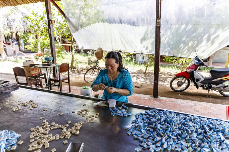 Vietnamese woman packs candies in candy factory in My Tho, Vietnam royalty free stock photo