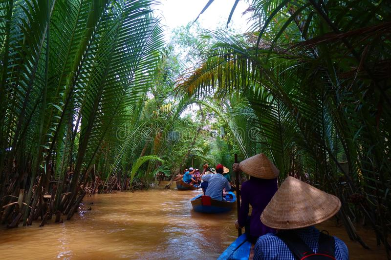 My Tho, Vietnam: Tourist at Mekong River Delta jungle cruise with unidentified craftman and fisherman rowing boats on flooding mud royalty free stock image