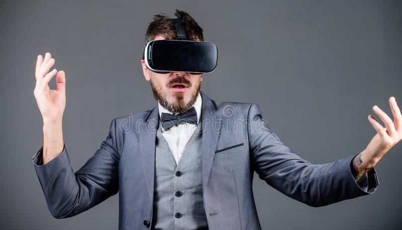 In my virtual world. virtual reality goggles. Modern business. Digital future and innovation. use future technology. Bearded man wear wireless VR glasses royalty free stock photo