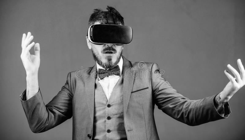 In my virtual world. virtual reality goggles. Modern business. Digital future and innovation. use future technology. Bearded man wear wireless VR glasses royalty free stock photography