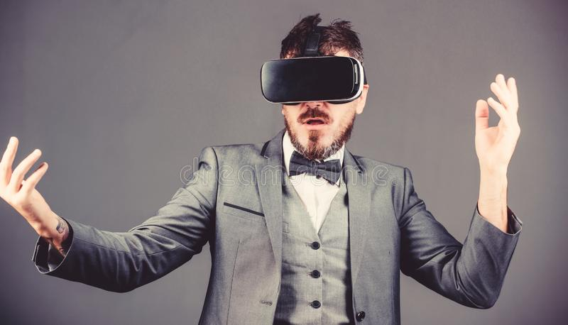 In my virtual world. virtual reality goggles. Modern business. Digital future and innovation. use future technology. Bearded man wear wireless VR glasses royalty free stock photos