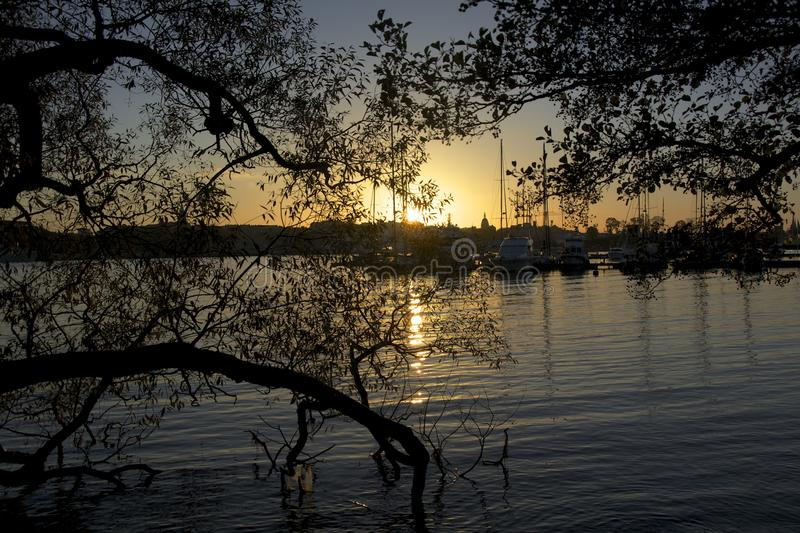 On my walk in sunset in Stockholm stock photo