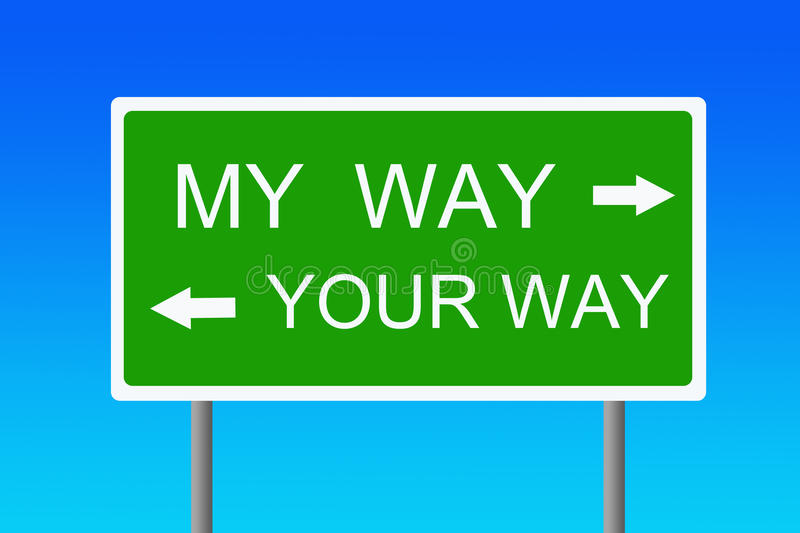 My way. A clear choice between my way and your way (concept for not reaching an agreement stock illustration