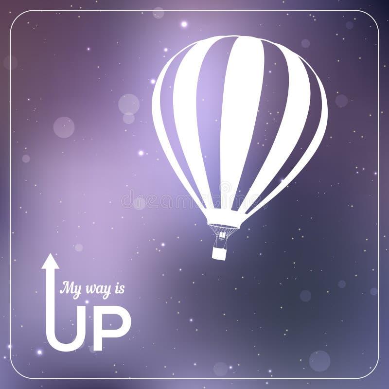 My way is UP hot air balloon vector illustration royalty free illustration