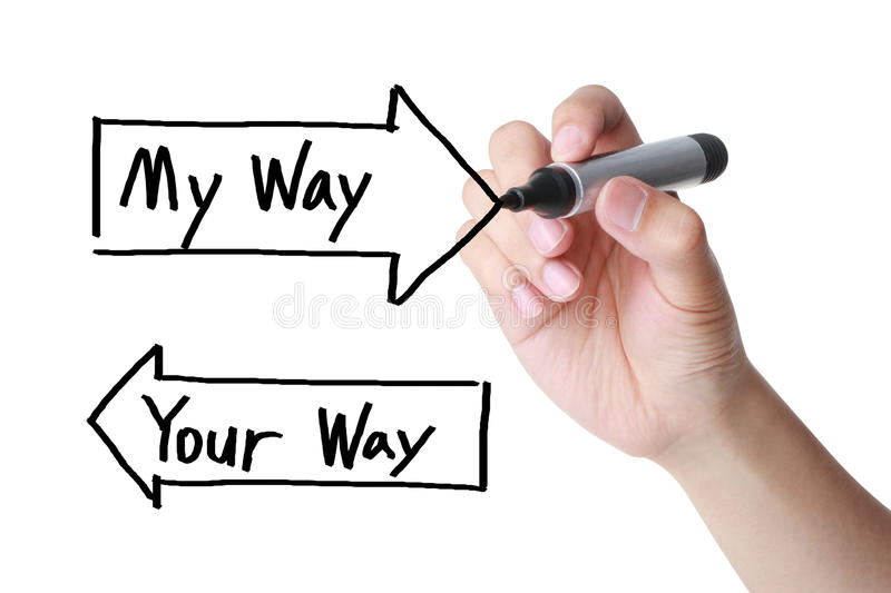 My Way Your Way. A clear choice between my way and your way (concept for not reaching an agreement stock photography