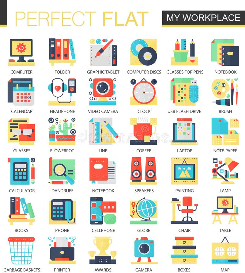 My Workspace Workplace Vector Complex Flat Icon Concept Symbols For