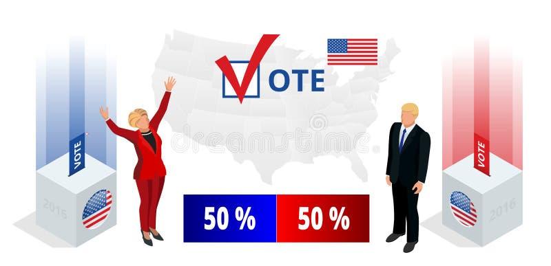 My wybory 2016 Demokrata Republikańskiej konwenci infographic sala Partyjny prezydencki debaty poparcie royalty ilustracja