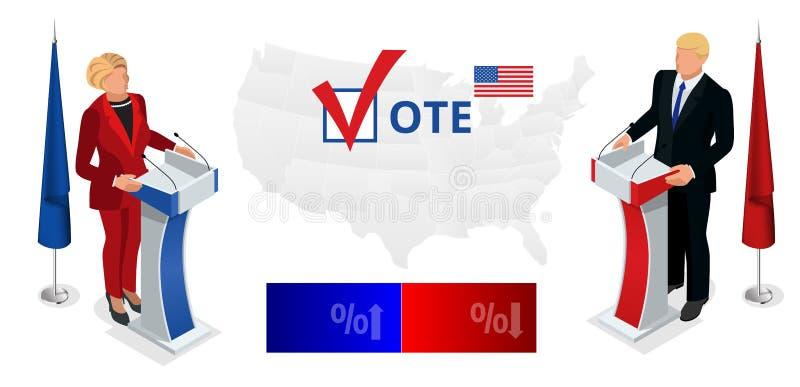 My wybory 2016 Demokrata Republikańskiej konwenci infographic sala Partyjny prezydencki debaty poparcie ilustracja wektor