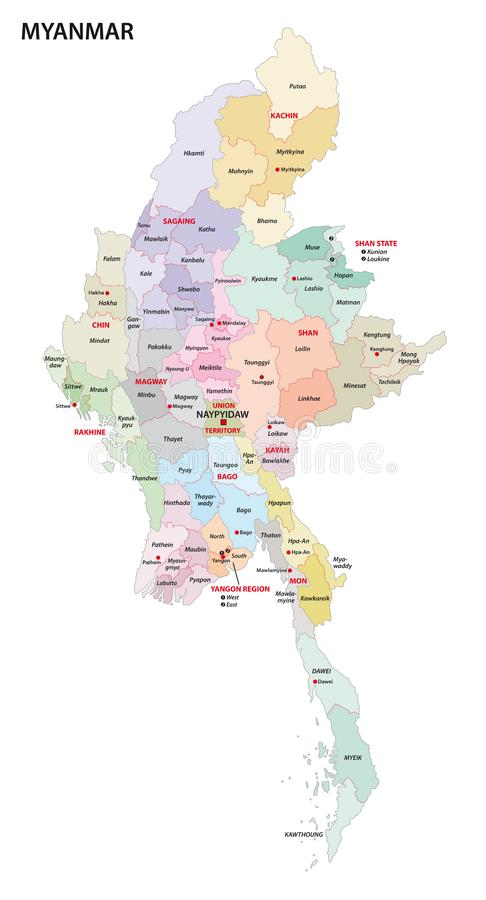 Myanmar administrative map with regions and districts.  vector illustration
