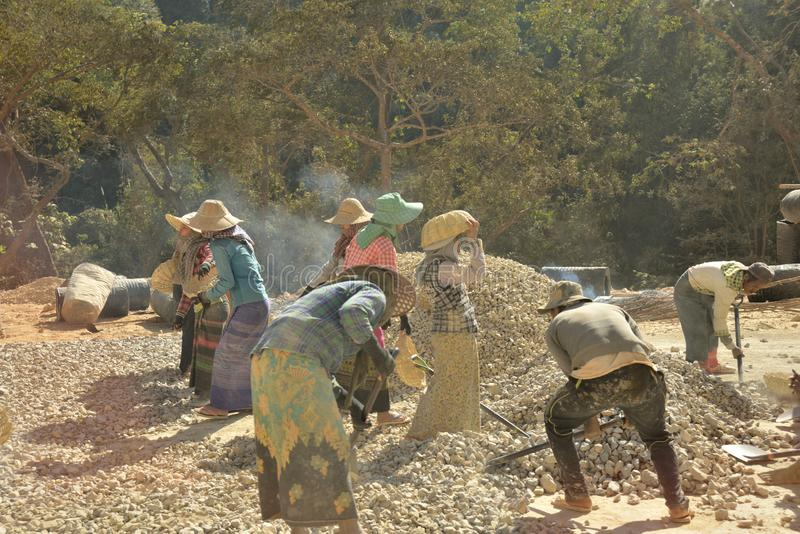 Myanmar-Arbeitskraft Teamwork stockfoto