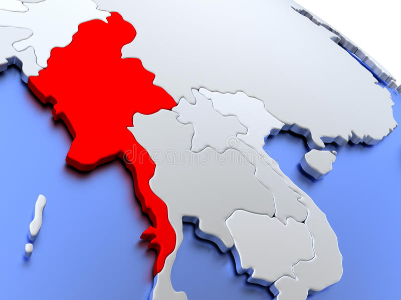 Myanmar auf Weltkarte lizenzfreie abbildung