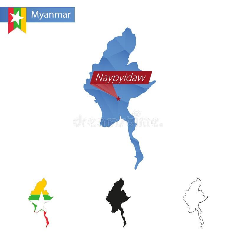 Myanmar błękitna Niska Poli- mapa z kapitałowym Naypyidaw ilustracja wektor